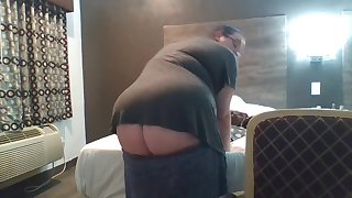 buttcrack in hotel while friend showers + flashing naked in window PUBLIC