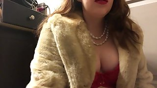 Teen Smoking Goddess with Big Perky Natural Tits Wearing a Fur Coat