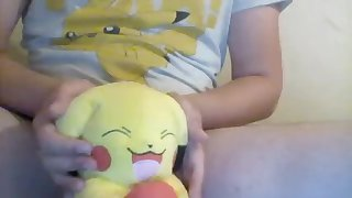 Wets diaper and playing with Pikachu