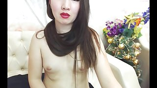 Sexy Asian Brunette Striptease and Hairplay, Long Hair, Hair