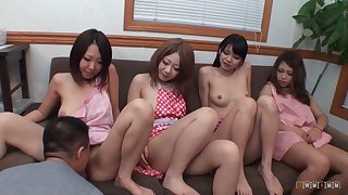 Lucky dude got four Japanese babes to fuck and fill pussy with cum