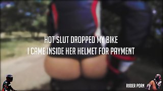 HOT Biker Girl Get A Huge Facial Cum Inside Her Helmet For Dropping My Bike