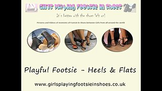 Playful girls footsie in shoes