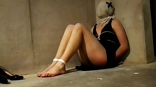Teen Blindfolded And Barefoot Bound In Basement