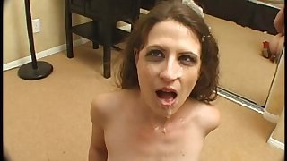 Lena Ramon plays with dildo and gets a slutty throat fuck !