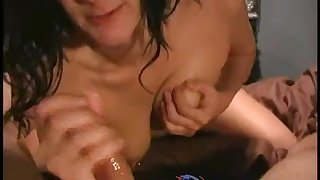 Hot Amateur Boob Pierced Babe Giving Handjobe And Cum On Her Face