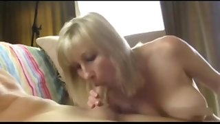 Step mom strokes fucks son