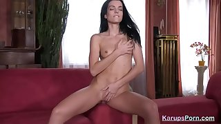 KarupsPorn - Young Brunette Strips and Rubs Pussy