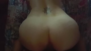 Our First Video - Hot Tattoo Couple Afternoon Sex Riding, POV, and Doggy
