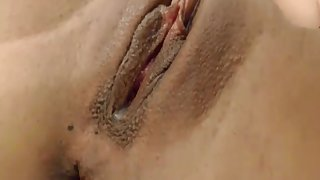 girl fingers and dildo brings herself to orgasm and spits on her vagina