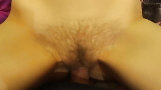 Deep penetration POV into the hairy pussy