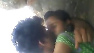 Teen Rashna with boyfriend kissed in forest outdoor
