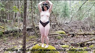 Horny girl dances in the forest and touches herself for you in public