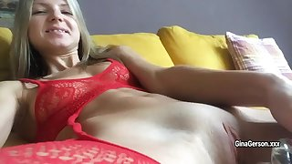 Lean-bodied blonde Gina Gerson caress her pussy with big glass dildo on cam