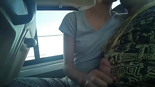 Make me cum for 1 min - extreme public handjob in bus